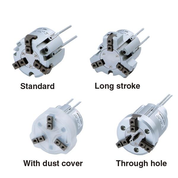 Slide Guide Round Body Air Gripper 3-Finger Type MHS3