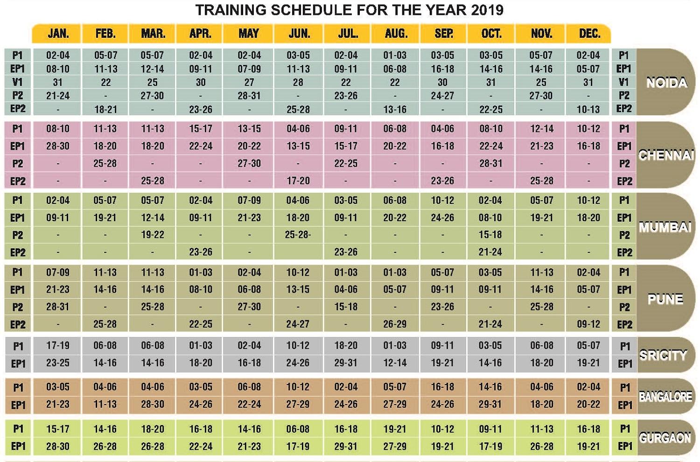 Training Schedule 2017